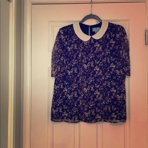 CeCe floral blouse with sheer shirred sleeves